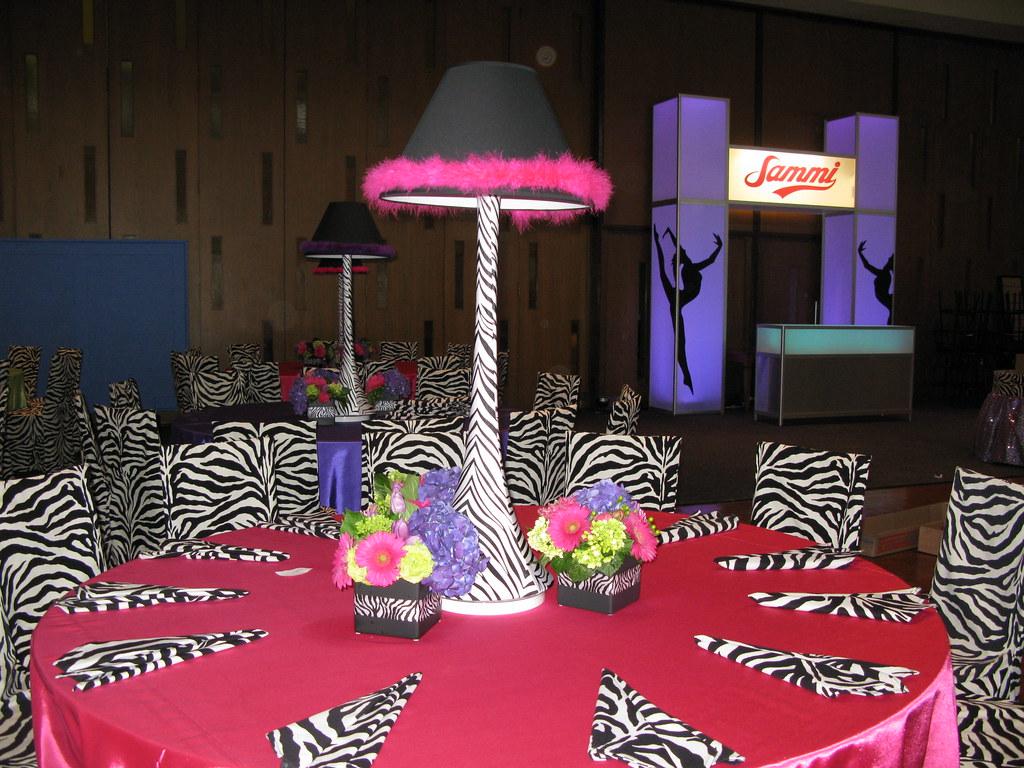 Excellent Custom Dance Themed Centerpieces With Zebra Print Spandex Interior Design Ideas Clesiryabchikinfo
