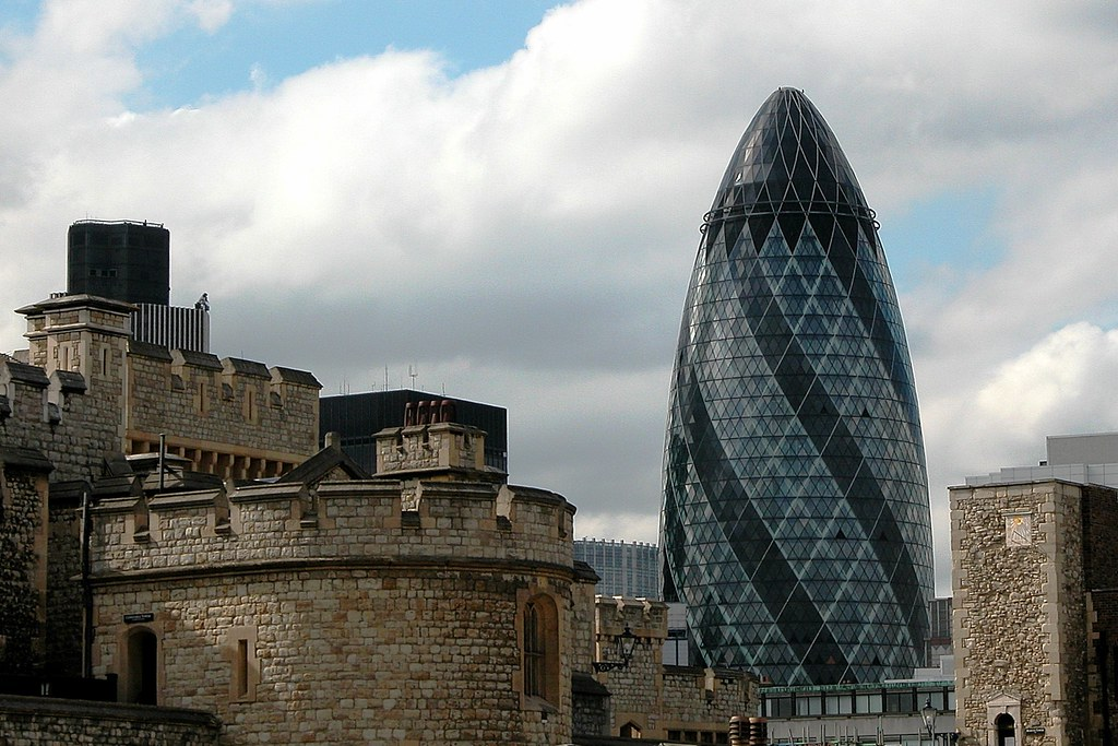 Swiss Tower in London, designed by Norman Foster.