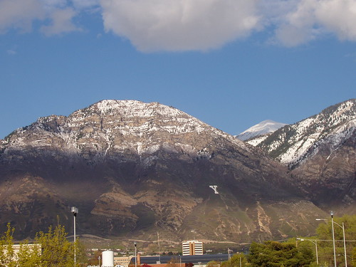 Y Mountain  as seen from Utah Valley. Provo Peak to the right.