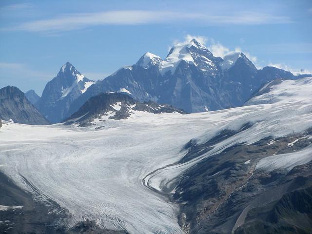 Kanderfirn ( Gletscher / Glacier ) mit Eiger - Silberhorn - Jungfrau - Rottalhorn - Louwihorn im Berner Oberland im Kanton Bern in der Schweiz