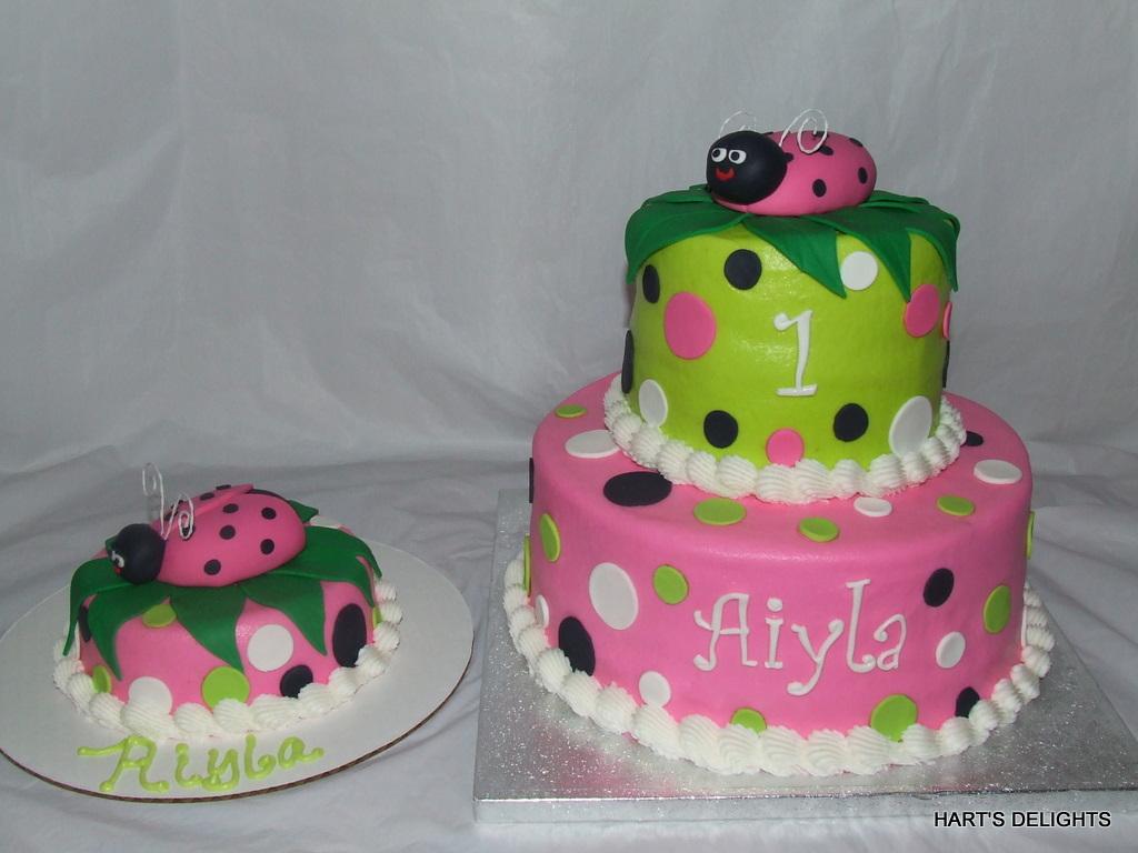 Pleasing Lady Bug 1St Birthday Cake Debbie Flickr Birthday Cards Printable Giouspongecafe Filternl