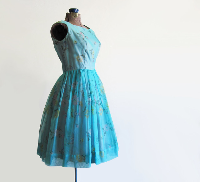 vintage 1950s Persephone Party Dress in Teal
