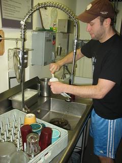 Alan washing dishes