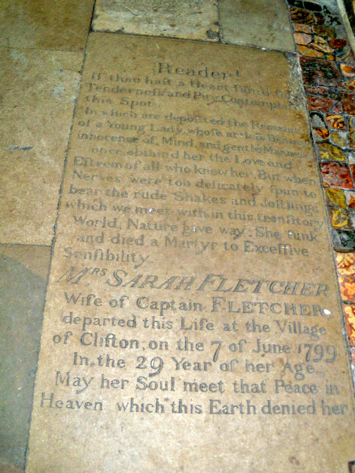 "Sad Stone ""Reader, if thou hast a heart fam'd for tenderness and pity, contemplate this spot. In which are deposited the remains of a young lady whose artless beauty, innocence of mind and gentle manner once obtain'd her the love and esteem of all who knew her. But when nerves were too delicately spun to bear the rude shakes and jostlings which we meet with in this transitory world, nature gave way. She sunk and died a martyr to excessive sensibility"" I was really taken by this epitaph and wanted to find out more. There is indeed more and here is some of it. atmospherichauntedplaces.blogspot.com/2009/03/courtiers-clifton-hampden.html"" rel=""nofollow atmospherichauntedplaces.blogspot.com/2009/03/courtiers-c... www.horrormasters.com/Text/a2781.pdf"" rel=""nofollow www.horrormasters.com/Text/a2781.pdf Dorchester Abbey, Appleford Circular"
