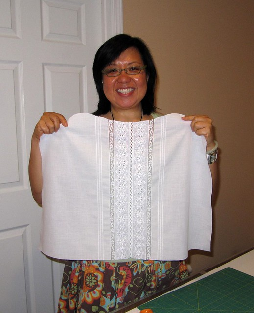 Tina's finished front - Evelyn Cumming's Heirloom Sewing class