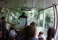 taking the funicular cable tram up Petrin Hill, Prague