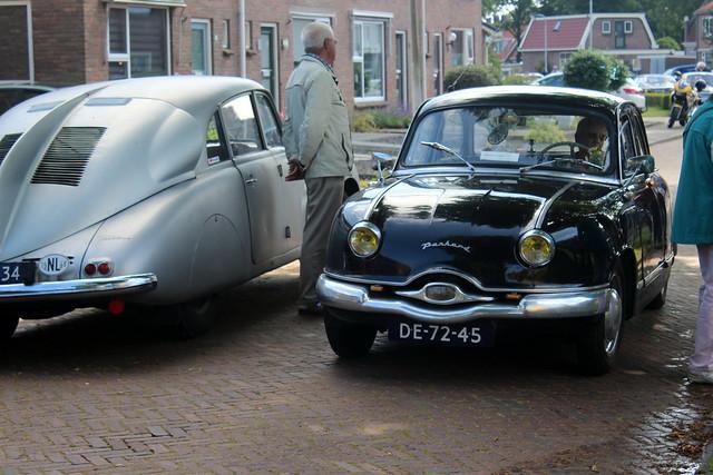 1957 Panhard Dyna Z-12 passing 1948 Tatra 87