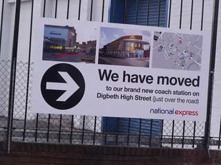 Former National Express Temporary Coach Station from Meriden Street - We have moved - sign | by ell brown