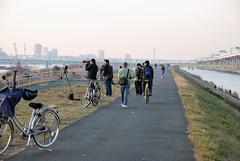 People Shooting Tokyo Sky Tree with Setting Sun