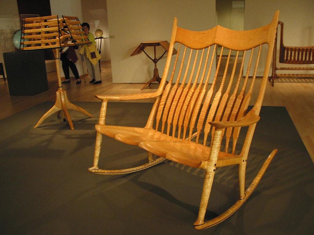 Brilliant Sam Maloof Rocking Chair Fiddleback Maple Retrospective Inzonedesignstudio Interior Chair Design Inzonedesignstudiocom
