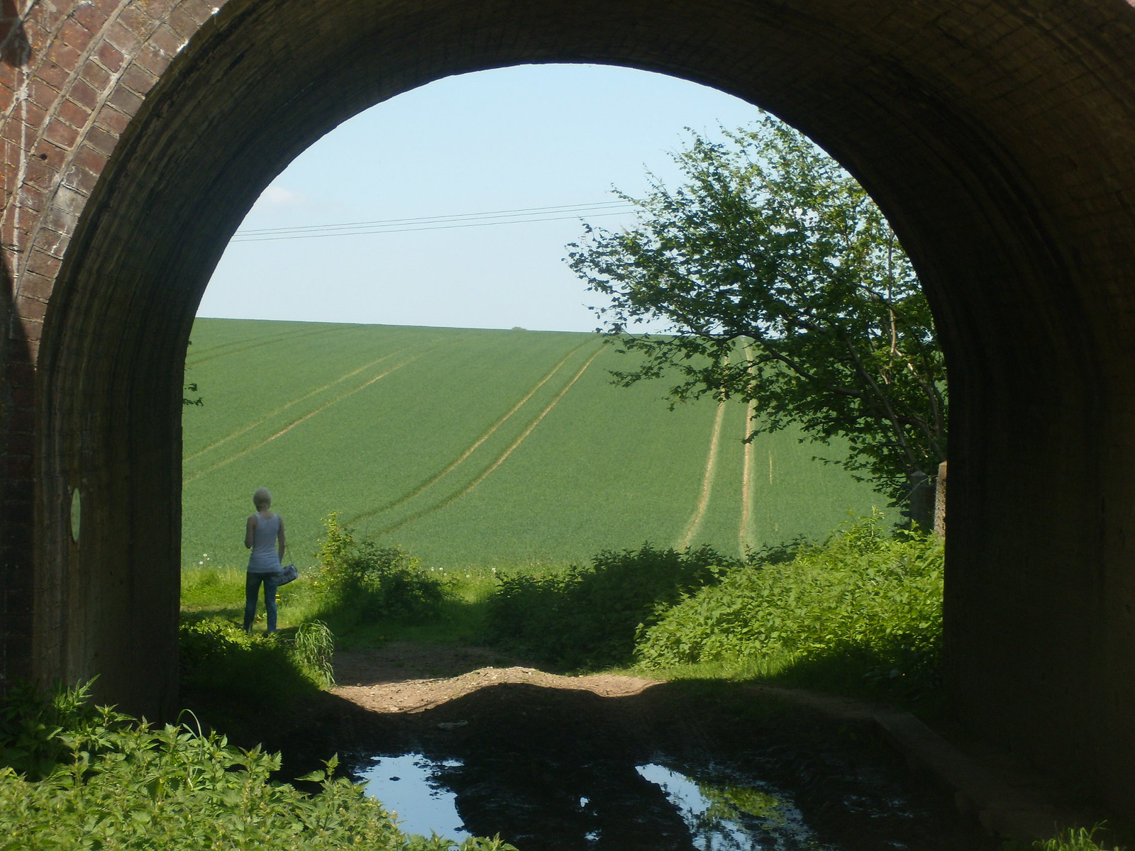 View through an arch Looking back. Overton circular