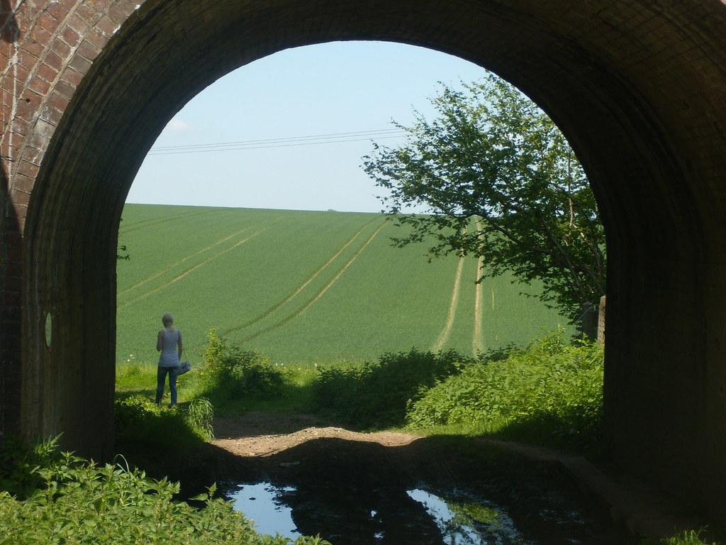 View through an arch Looking back. Overton circular