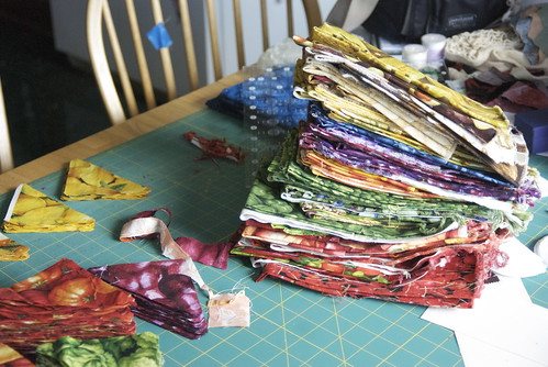 At this point I'd taken a slice out of each fabric. It's canted but not significantly reduced; there are probably two more quilts' worth of fabric still left. Guess there will be an ETQ2.