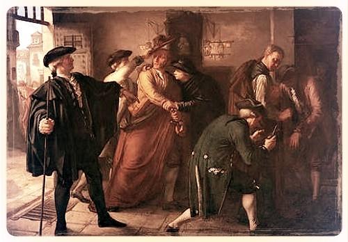 expulsion de los jesuitas  el 27 de agosto de 1767, alguaciles le cortan la capa a jesuitas y le quitan el sombrero redondo y bajo para que  adoptasen la capa corta y el sombrero de tres picos