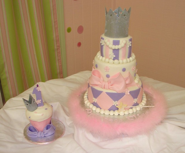 Princess Elise's 1st Birthday Cake and Smash Cupcake
