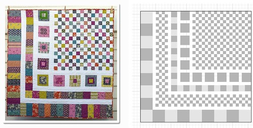 I really liked this design that redpepperquilts had for sale on etsy. ('Bricks and Stones' quilt pattern) I bought a copy, even though I knew it was for a lap-sized quilt, and I'd need to adapt it to get the bed-sized quilt I wanted. It's a really fun idea, though.  Some quick drafting in Illustrator later and I've got the general plan; I chose a 72' square quilt because 72 is a multiple of 4, 6, and 8.  Haven't started it yet; it's in the queue, though.