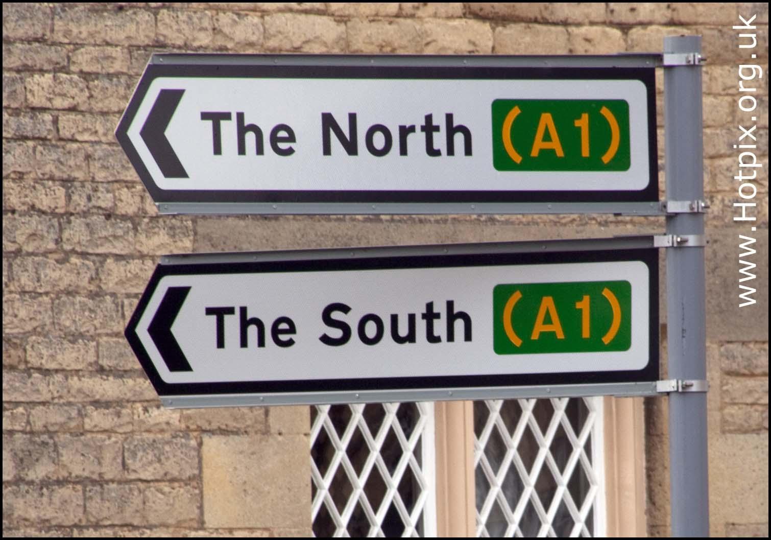 A1,north,south,sign,signs,england,cambridgeshire,peterboro,peterborough,road,highway,wansford,wanford,UK,GB,britain,united,kingdom,narrative,hotpix!,Edinburg,edimburgh
