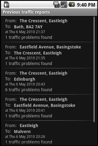 UK traffic for Android - previous traffic reports
