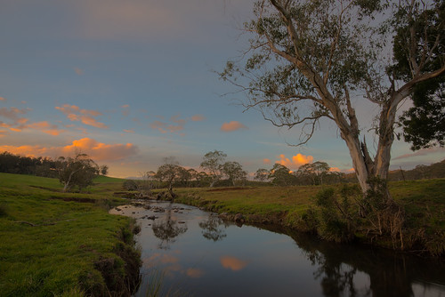 nymboida river ebor nsw australia water sunset orange cloud trees grass reflection