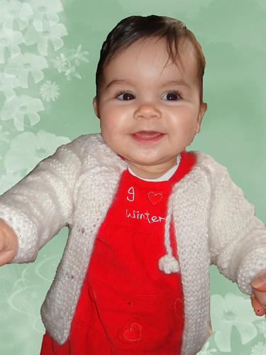 Baby cardigan Warm Hand Knit size 3-6 months- GIFT warm HAT
