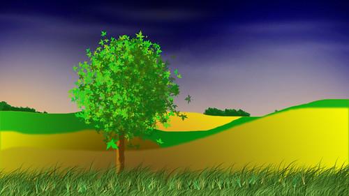 blue trees sky leaves clouds landscape countryside scenery digitalart hills drumlins 1252008 sesjusz