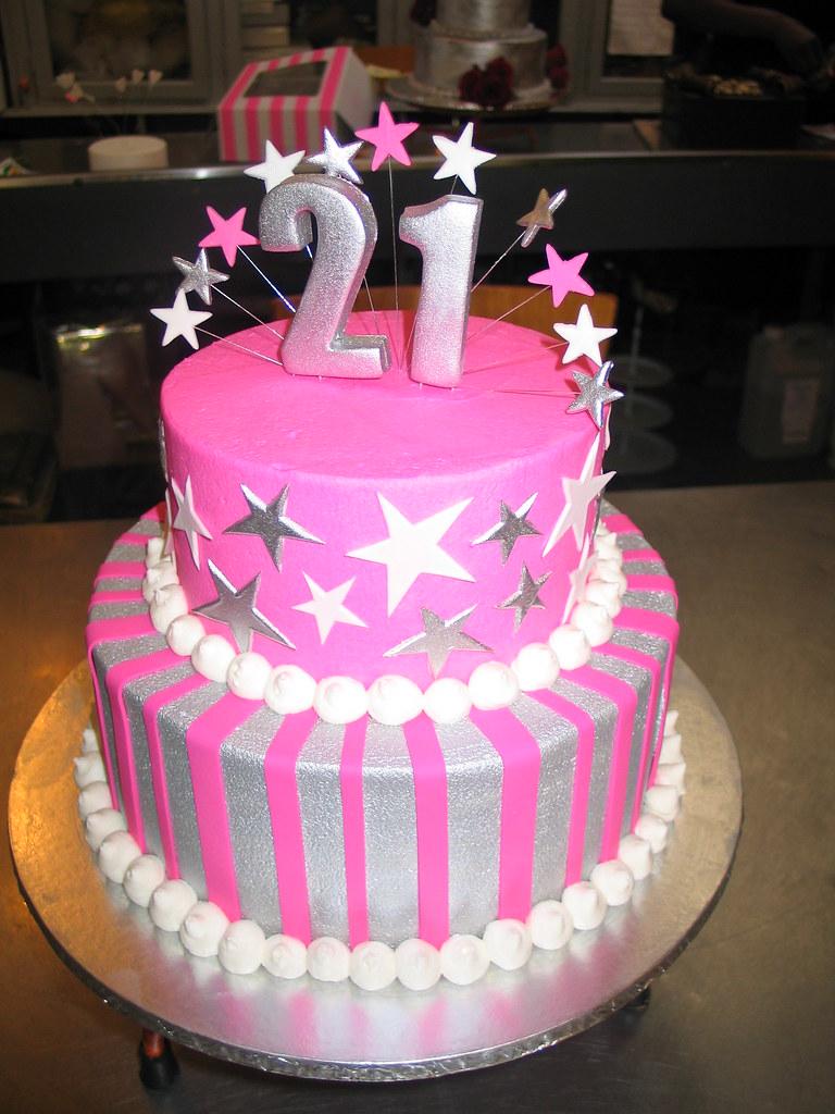 Groovy Silver Pink 2 Tier Birthday Cake Stars Stripes Flickr Funny Birthday Cards Online Amentibdeldamsfinfo
