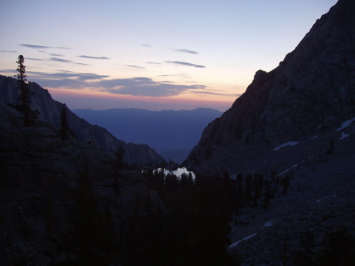 Sunrise over Lone Pine Lake on the Mount Whitney trail.