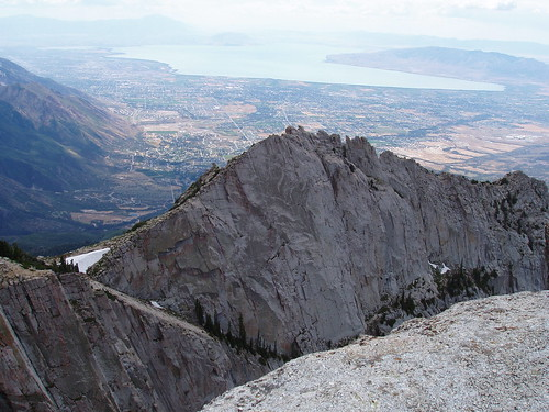 The Question Mark Wall with Utah Valley in the background from the summit of Lone Peak.