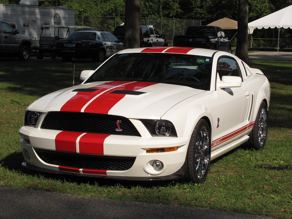 Red and white ford mustang gt500 at arnold days car show in arnold mo img 4383