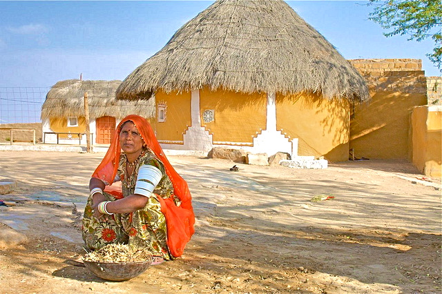 Woman in front of her Home, Jaisalmer, Rajasthan, India