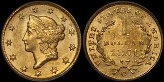 1851-C Gold $1.00 PCGS MS63   by RareGoldCoins.com