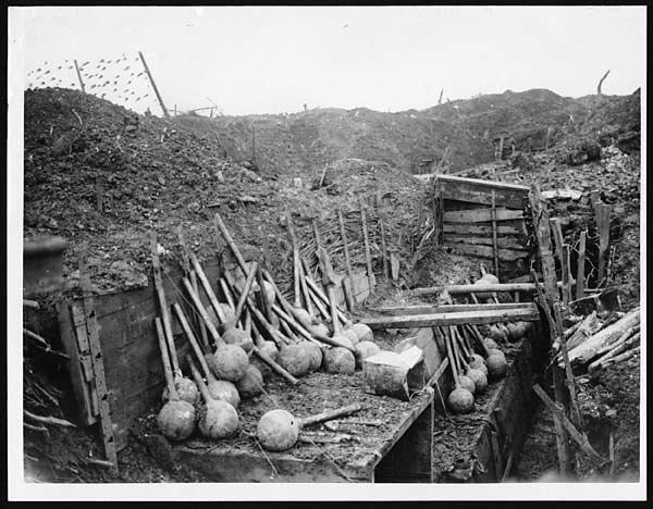 Store of our big mortars in a captured trench | Mortars in a