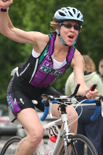 Vicky, the Most Enthusiastic TNTer @ Elkhart Lake Triathlon 2010 | by indywriter