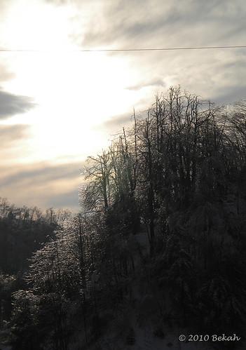 sunset snow mountains ice
