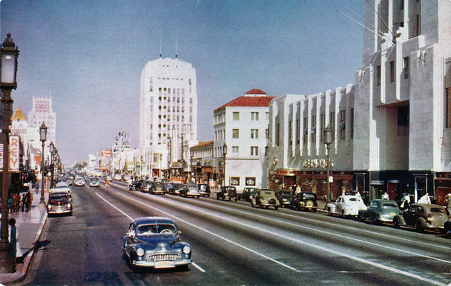 Wilshire Blvd - Miracle Mile 1950s, Los Angeles, California
