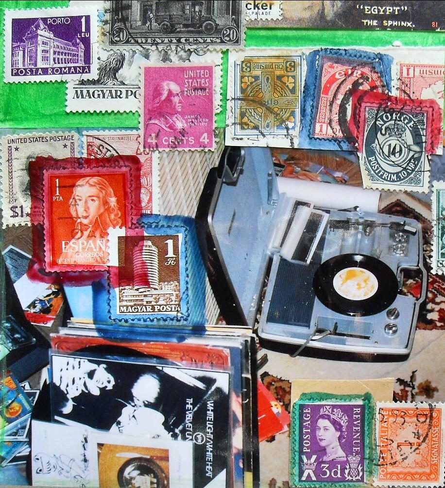 COLLAGE VINTAGE 1960s Record Player Velvet Underground LP