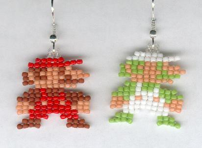 8 bit Mario and Luigi beaded sprite earrings by SpriteMe2 … | Flickr