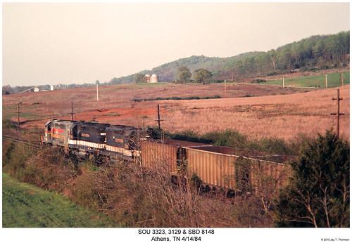 railroad train diesel tennessee railway trains athens southern locomotive trainengine sr sou sbd sd45 emd sd402 sd40 sixaxle familylinessystem
