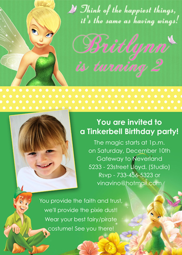 Tinkerbell Disney Fairy Custom Birthday Invitation