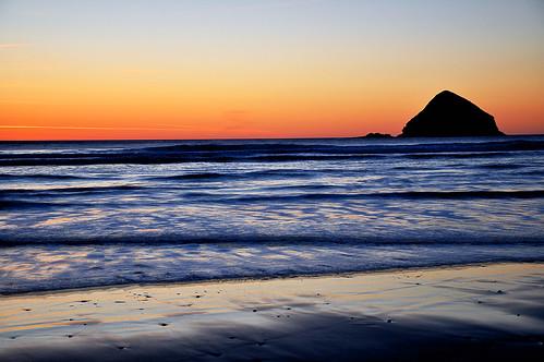 oceanside oregon oceans pacific waves sand sunset haystack beach