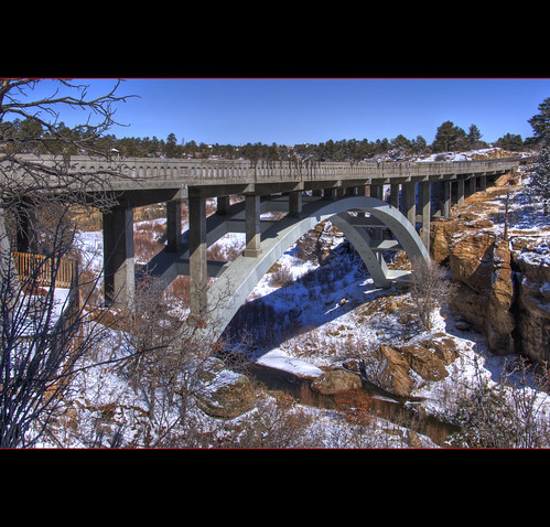cherrycreek bridge arch historic castlewoodcanyon statepark spring snow blue sky landscape bridgepix bridgepixing bridging highway rock tree creek water stream 201003