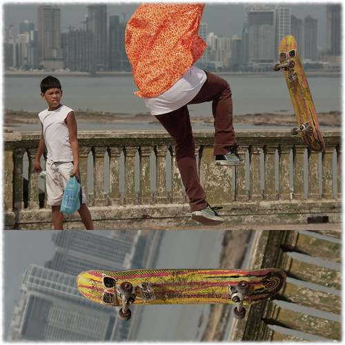 boy orange shirt skyline canon eos jump diptych downtown fb watch skateboard panama dslr panamá panamacity cascoviejo sk8r cascoantiguo saltar 40d canon40d sigma18200dcos ciudadpanamá clubunión
