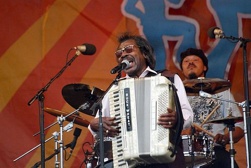 Buckwheat Zydeco (Stanley Dural Jr.) belts one out at Jazz Fest on April 30
