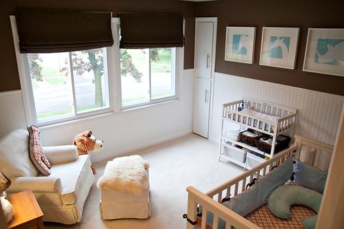 Aqua/Brown/Orange Boy's Nursery Design | by Tabitha Blue / Fresh Mommy
