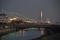 Katsushika Harp Bridge and Shutoko C2 Central Circular along the Ayase River