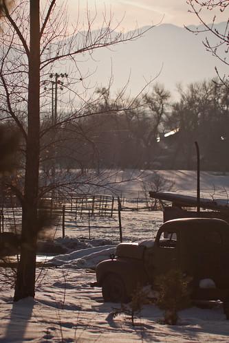 winter sunset sun sunlight snow silhouette rural canon utah afternoon farm rustic oldcar oldtruck cachevalley millville 450d rebelxsi