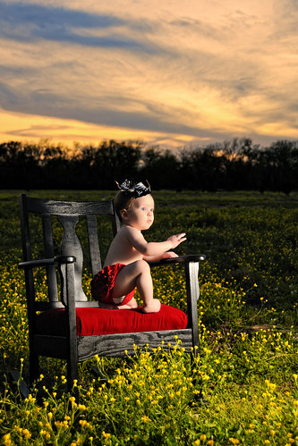 flowers sunset portrait sky baby girl field clouds necklace chair texas child tx oneyearold brazoria sb900 bluecityphotographycom