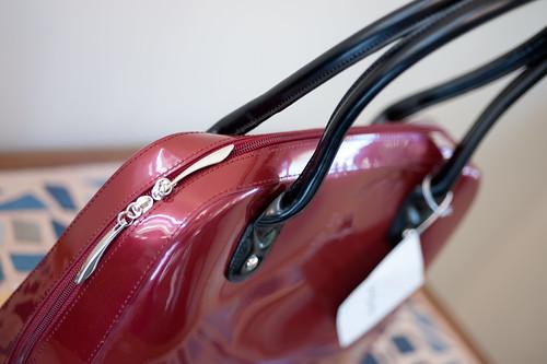 Patent leather handbag - Wine Color