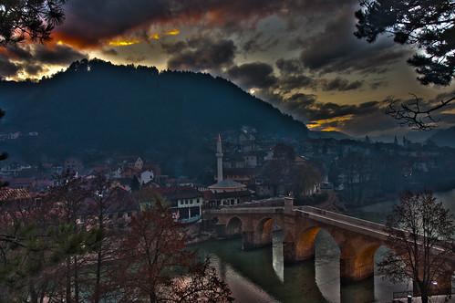 bridge sunrise brücke hdr konjic