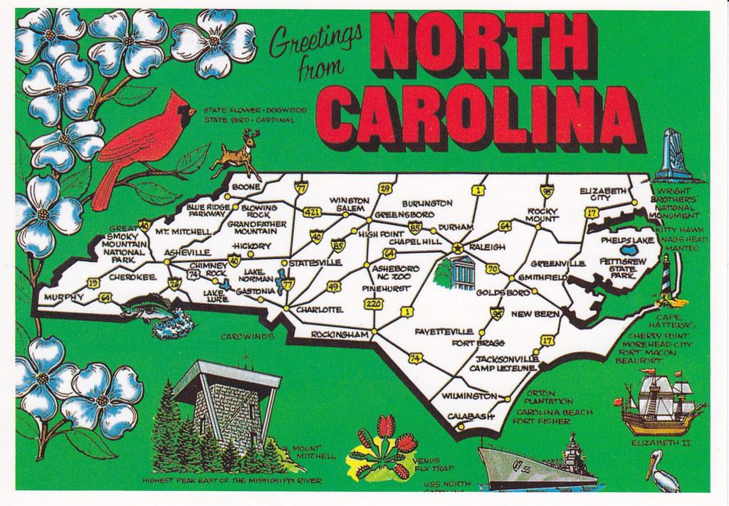 North Carolina Map Postcard | Map RR 133 from jnolan05 (USA ...